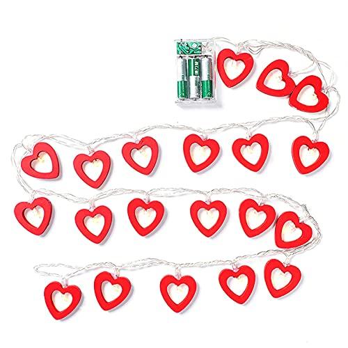 surfsexy Cadena de luz LED con forma de corazón, color rojo cálido, decoración del hogar, adecuado para el día de San Valentín, boda, jardín, dormitorio (no incluye batería)