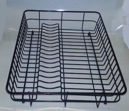 Grand égouttoir à vaisselle Plaque à revêtement plastique Noir