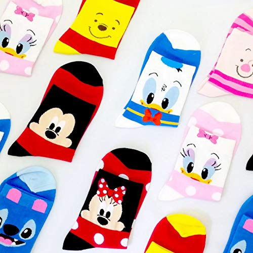 MIWNXM 10 Pares Disney Casual Women Socks Cartoon Animal Mouse Socks Funny Christmas Socks Women Cotton Cute Long Socks