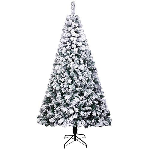 HWJK Flocked Artificial Christmas Tree,6ft PVC Flocking Christmas Tree 750 Realistic Tips Metal Stand Automatic Christmas Tree Easy Assembly Xmas Pine Tree