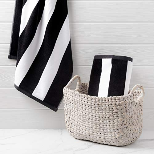 Welhome Cabana Beach Towel - Set of 2-100% Turkish Cotton - Oversize Towels 40'x72' - Pool & Beach - Supersoft - Ultra Absorbent - Quick Dry - Machine Washable - 450 GSM - Black