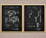 Retro Wall Art Canvas Patent Poster table tennis table tennis poster Set Of 2 blueprint poster ping pong...