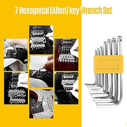 Fesjoy Gitarre Tools GCK-11 Gitarrenreparatur und -wartung Zubehör Werkzeugset Inklusive Sechskantschlüssel Schraubendreher Saitenwickler Zange Saitenhalter Line Saitenhalter Werkzeug Reinigungstuch