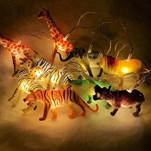HEITIGN Wild Animal String Lights, 10 LEDs Animals Fairy Lights LED Fairy Fantastic Lights, Children Room Decoration for Kids Room Indoor String Lights, Warm White Light, Battery Powered