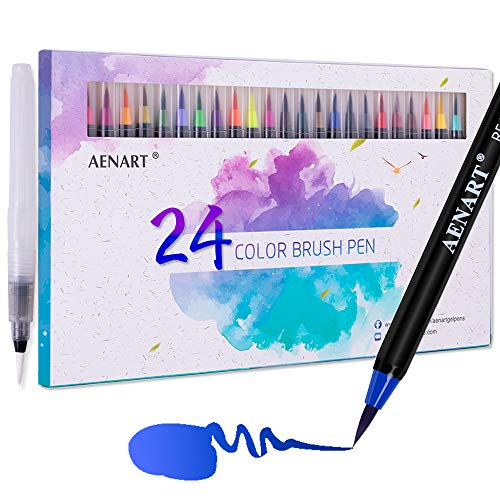 Aen Art Watercolor Real Brush Pens Set, 24 Colors Flexible Nylon Brushes Tip Painting Markers for Calligraphy, Lettering, Drawing and...