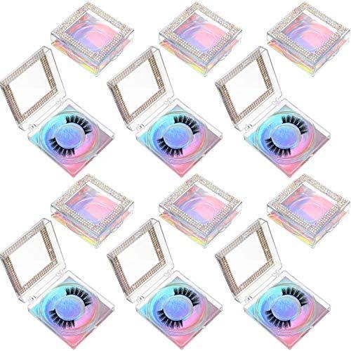 12 Pieces 3D False Eyelashes Packaging Boxes Rhinestones Square Lash Case Empty Eyelash Storage product image