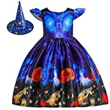 MYRISAM Kids Girls Halloween Costume Dress w/Witch Hat Ghost Pumpkin Skull Printed Fancy Dress Up Cosplay Party Outfits 3T Blue
