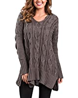 Sidefeel Women Casual V Neck Loose Fit Knit Sweater Pullover Top Medium Brown