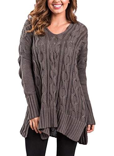 Sidefeel Women Casual V Neck Loose Fit Knit Sweater Pullover Top XX-Large Brown