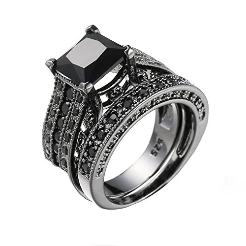 Bokeley Valentine's Day Rings Gift, 2-in-1 Womens Vintage White Diamond Silver Engagement Wedding Band Ring Set (Black, US Size: 8)