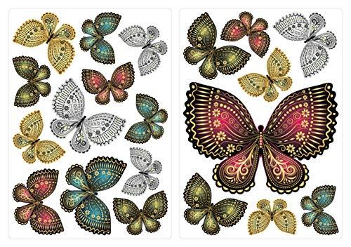 dekodino® Wandtattoo orientalische Schmetterlinge 20 Stück Wandsticker Set