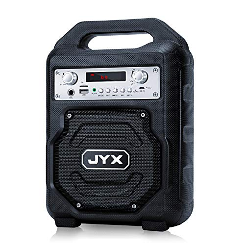JYX Portable Bluetooth Speaker Subwoofer, Bluetooth 5.0 Wireless Stereo Boombox, Loud Sound with Heavy Bass Support REC/MIC Input/FM Radio/AUX/USB Card for Phone Computer Party Travel