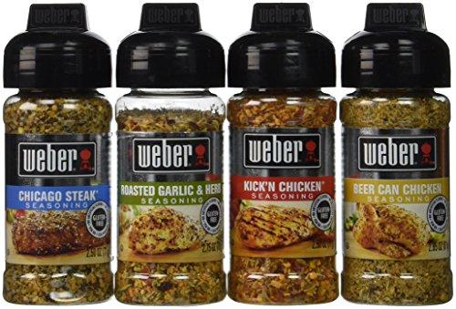Weber Seasoning Variety 4 Flavor Pack 2.5-2.75 Ounce (Chicago Steak, Roasted Garlic and Herb, Kick'n Chicken, Beer Can Chicken)