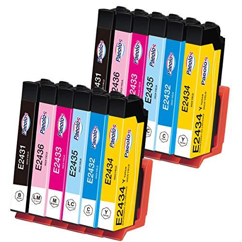 Paeolos 24XL Tinta Compatible para Epson 24 XL Cartuchos de Tinta para Epson Expression Home XP-850 XP-750 XP-950 XP-55 XP-860 XP-760 XP-960 Negro/Cian/Magenta/Amarillo