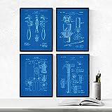 Nacnic Azul - Pack de 4 Láminas con Patentes de Herramientas. Set de Posters con inventos y Patentes...