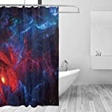 Cortina de la Ducha Space Red Galaxy Star Fabric Bath Curtain with 12 Polyresin Hooks,60x72 Inch Water-Repellent Rustproof Machine Washable Easy to Install