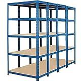 Certeo Mega Deal | 4x scaffali per carichi pesanti - profondità 45 cm - 200 kg per ripiano | scaffale metallo