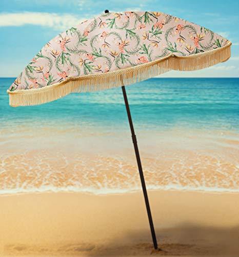 Strandschirm für Sand - Bester Strandschirm Winddicht mit Sandanker Tragbarer Sportschirm Fransen Denim Strandschirm Tasche Features Spitzer Boden & 100% UV Sonnenschutz - Bahama (Flamingo)