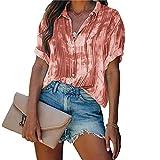 Queenromen Camisas de gasa y blusas de las mujeres elegante impresión botón Top gasa Blusas manga corta camiseta primavera verano