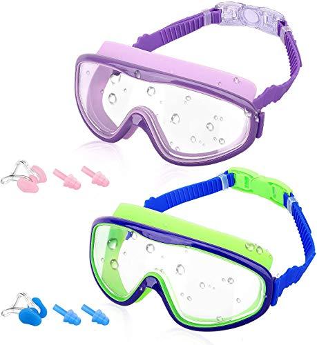 MoKo [2PZS Gafas de Natación para Niños con Protección Anti- vaho UV Sin Fugas de Silicona y Visión Amplia con Tapones para Los Oídos y Pinzas para la Nariz
