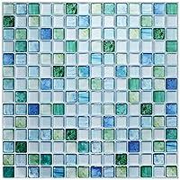 【 Dream Sticker 】 モザイクタイルシール キッチン 洗面所 トイレの模様替えに最適のDIY 壁紙デコレーション BST (サファイアブルー, 12枚セット)