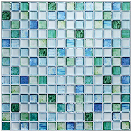 【 Dream Sticker 】 モザイクタイルシール キッチン 洗面所 トイレの模様替えに最適のDIY 壁紙デコレーション BST (サファイアブルー, 1枚)