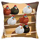 Cuscino per la casa Cuscino per divano Cuscino per divano Un gruppo di gallina che dorme su un trespolo in una fattoria Decorazione per feste in stile doodle colorato