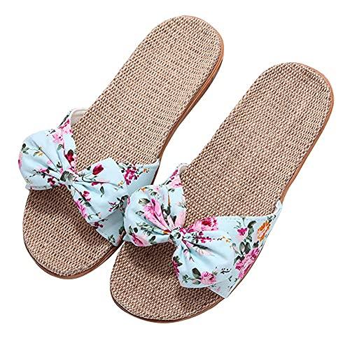 SXYRN Chanclas para Mujer Zapatillas de Lino Tejidas Sandalias Planas con Lazo Floral Señoras Antideslizantes Caminatas Vacaciones de Ajuste Ancho Zapatillas de Playa para Zapatos de casa