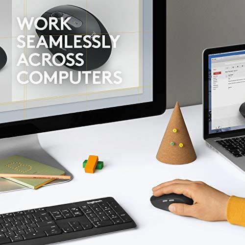 Logitech M590 Mouse Wireless Silenzioso, Multidispositivo, Bluetooth o Wireless 2.4 GHz Con Ricevitore USB Unifying, Rilevamento Ottico 1000 DPI, Durata Batteria 2 anni, PC/Mac/Laptop, Grigio Mid