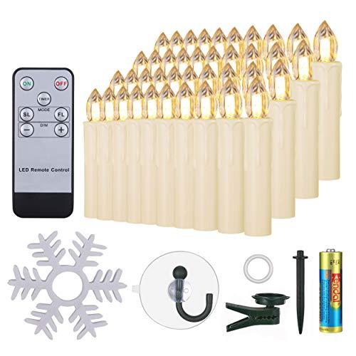 40er LED Kerzen mit Batterien Timer Fernbedienung Halter Set Dimmbar warmweiß, IP64 wasserdichte Weihnachtskerzen Lichterkette Fenster Beleuchtung für Weihnachtsbaum Hochzeit Geburtstags Kirche, beige