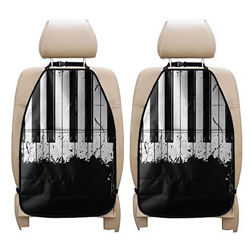 Coloranimal Vintage teclado Kick Mats Anti-Scratch Seat Protector para coche, camión, sedán, furgoneta, accesorios automotrices para asiento trasero, cojín de aire de almacenamiento de 2 piezas