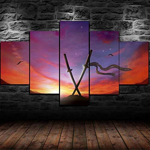 Malqx Leinwanddrucke Muramasa The Demon Blade Verfluchte Katana Gerahmte Leinwand Wandkunst Home Decor 5 Stück