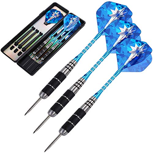 ANSOWNY Darts Steel Tip Set Professional, Steel tip Darts pro 22 Grams with Case, Aluminum Shafts and Black Coated Metal Barrels - 3 Pack (Blue)