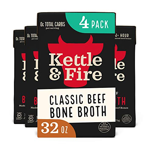 Beef Bone Broth by Kettle and Fire, Pack of 4, 32oz For Cooking, Keto Diet, Paleo Friendly, Whole 30 Approved, Gluten Free, with Collagen, 7g of protein, 32 fl oz