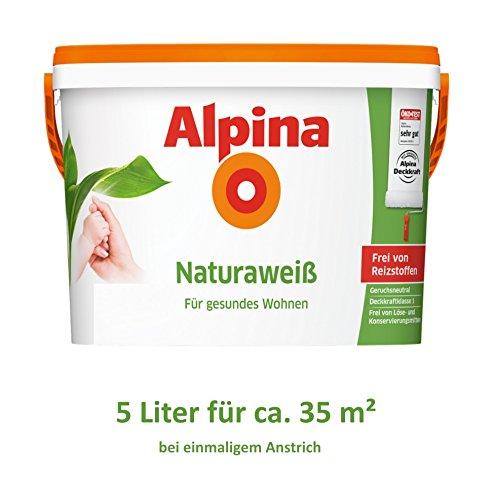 Alpina Natura Weiss 5 Liter Wandfarbe Weiß frei von Reizstoffen, Kinderzimmer