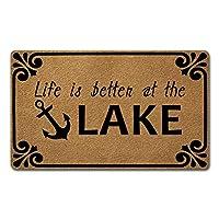 Welcomeドアマット ホームインテリア用 (18 x 30インチ) 面白いマット 滑り止めゴムバックキッチンラグ 玄関用パーソナライズドアマット (Life is Better at The Lake)