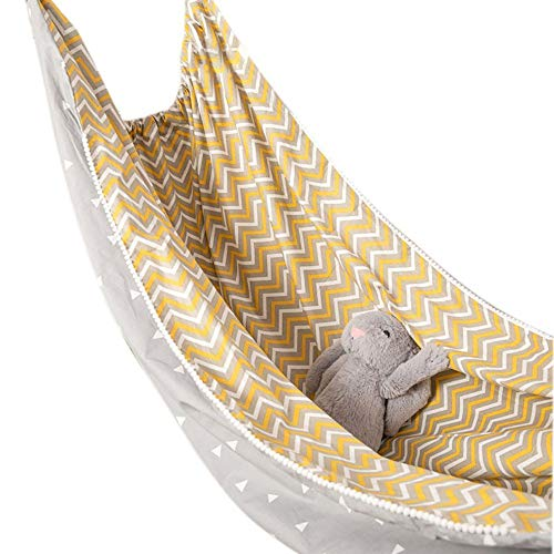 DJR Child Cotton Hammock, mit Seile Hängematte Outdoor, Hängesack Kinderzimmer aus Baumwolle Blue