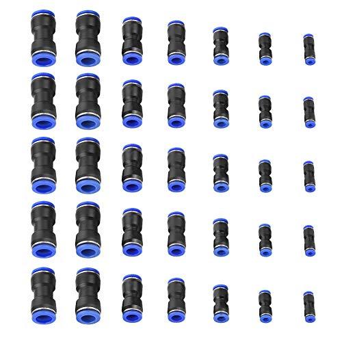 Pneumatischer Steckverbinder - Außenluftanschluss 4/6/8/10/12/14 / 16mm Luftschlauch Pneumatischer Steckverbinder, Druckluft-Schnellverbinder, 35-Pack
