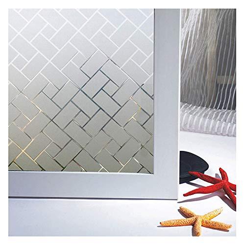 Zindoo Geometrie Fensterfolie Sichtschutz Sichtschutzfolie Ohne Kleber Milchglasfolie Gute Privatsphäre Schutz für Badezimmer, Umkleide und Konferenzräume 44.5 x 200CM
