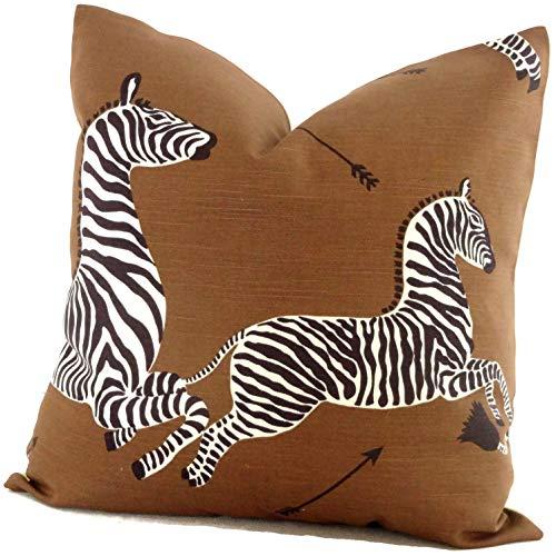 None Brand Brown Scalamandre Zebra Decorative Pillow Cover Square Pillow Eurosham Pillow or Lumbar Pilllow Accent Pillow Throw Pillow