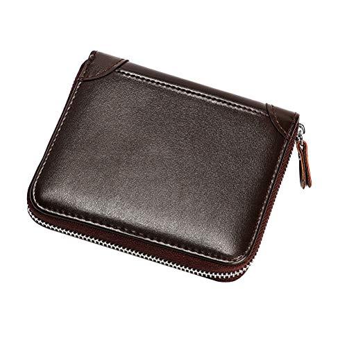 1pc Echtes Leder Geldbörse Antimagnetische RFID Geldbörse Bankkarte Tasche Münztasche Große Kapazität Zertifikat Lagerung Brieftasche (Kaffee)