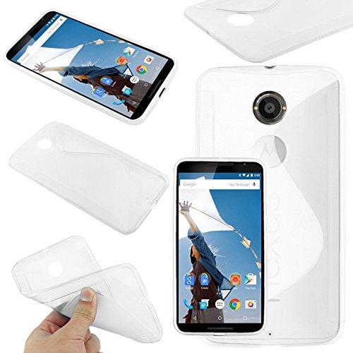 ebestStar - Funda Compatible con Motorola Nexus 6, Nexus X Carcasa Gel Silicona Gel TPU Motivo S-línea, S-Line Case Cover, Transparente [Aparato: 82.98 x 159.26 x10.06mm, 5.96'']