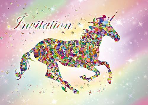 Edition Colibri 10 Licorne Invitations Anniversaire Fille: Lot de 10 Cartes d'invitation tendres et illustrées avec Licorne et Arc en Ciel pour Un Anniversaire de Fille (11076 FR)