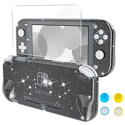 HEYSTOP Case Compatible with Nintendo Switch Lite, with Tempered Glass Screen Protector and 4 Thumb Grip, Front and Back, All-Round Protective case (Black)
