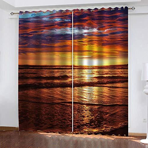 NWDDDEM® Verdunkelungsvorhang 2 Panels, 160(W) X130(H) cm 3D Digitaldruck Sonnenuntergang Seelandschaft Wohnzimmer...