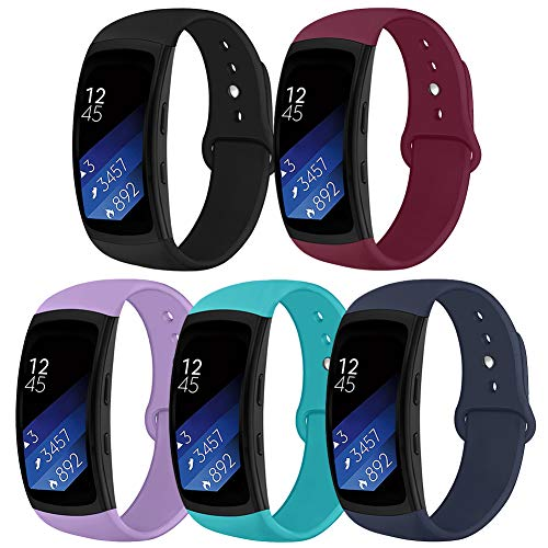OenFoto Sports Band Compatible Gear Fit2 Pro/ Fit2, Replacement Silicone Accessories Strap Samsung Gear Fit2 Pro SM-R365/ Gear Fit2 SM-R360 Smartwatch -5-Pack
