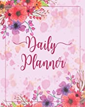 Daily Planner: Pretty Flower Time Management Journal to Do List Planner Daily Task Meals Exercise Notebook Organizer Size 8x10 Inches 100 Pages