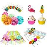Dusenly - 100 piezas 3D Flamingo Piña Cupcake Toppers Fruit Cocktail Beber Pajitas de papel de...