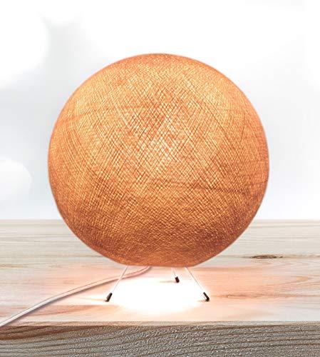 CREATIVECOTTON Lámpara de pie LED hecha a mano con pantalla de algodón (Marrón, 25 cm)