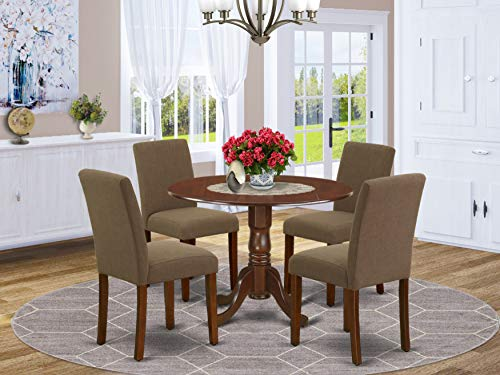 East West Furniture Wooden Dining Set 5 Pieces-Coffee Linen Fabric Parsons Chairs-Mahogany Finish Solid two 9-inch drop leaves Wood Table and Frame, 5